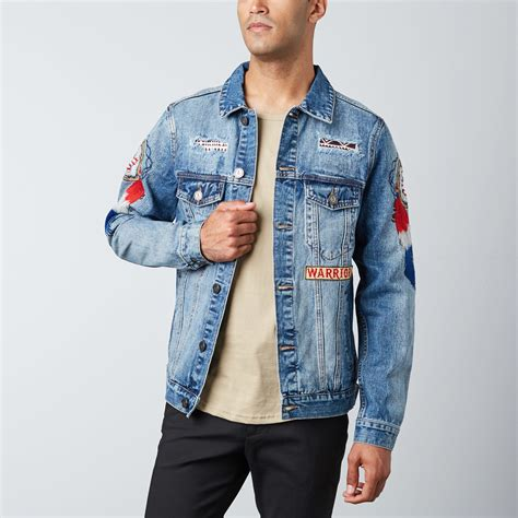 Patched Denim Jacket patched denim jacket blue s reason touch of modern