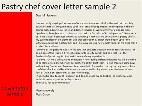 cover letter sle for chef pastry cover letter 51 images cover letter sle pastry
