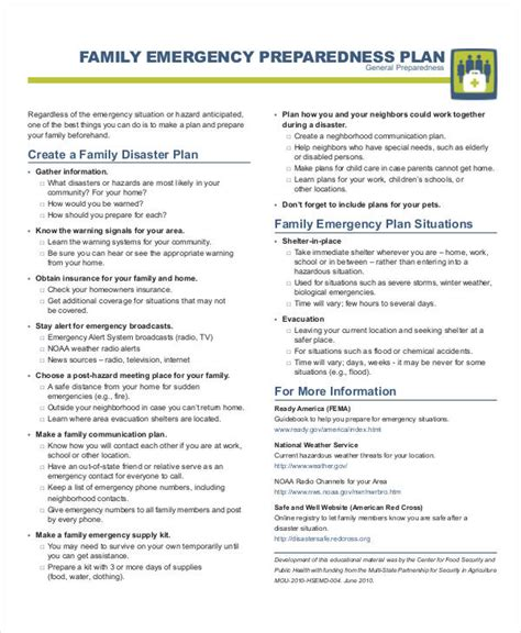 27 Emergency Plan Exles Family Evacuation Plan Template