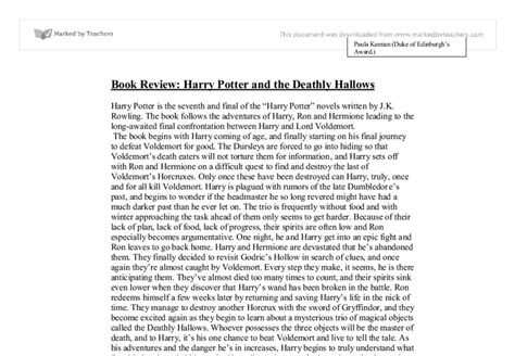 Harry Potter Analysis Essay by Book Review Harry Potter Deathly Hallows Gcse Marked By Teachers