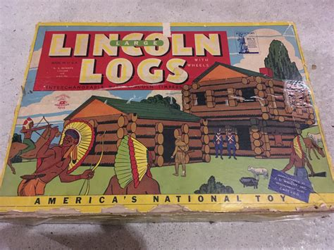 antique lincoln logs original vintage lincoln logs set 3 l 1940 s war bonds