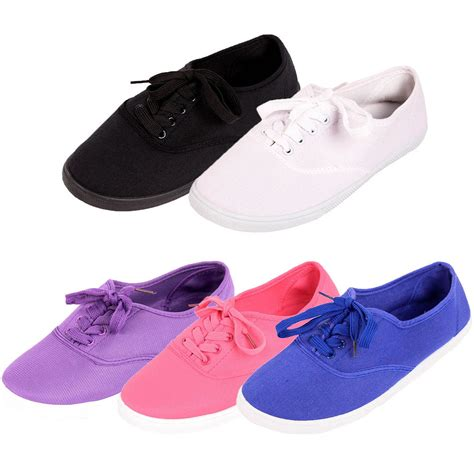 womens canvas lace up shoes casual sneakers classic tennis