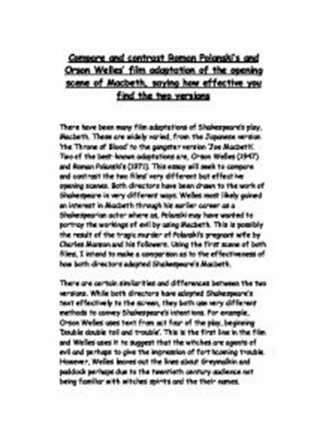 Macbeth Comparison Essay by Compare And Contrast Polanski S And Orson Welles Adaptation Of The Opening Of