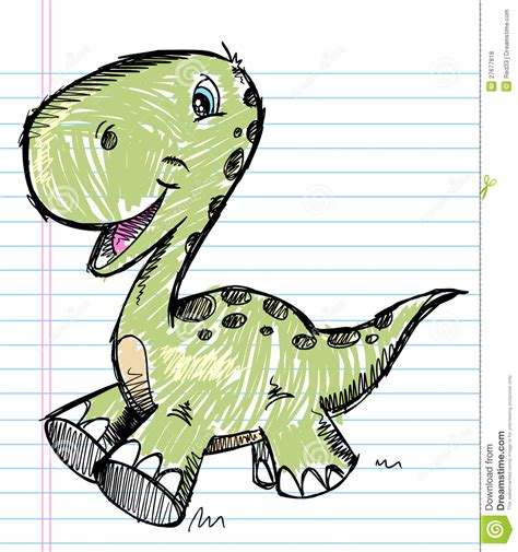 doodle dini dinosaur doodle color sketch vector royalty free stock