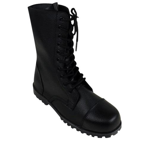 mens black faux leather army boot combat tactical