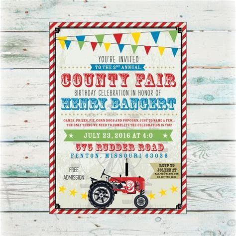 Printable County Fair Birthday Invitation   DIY Birthday