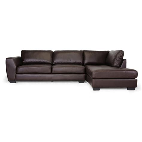 poundex 2 pieces faux leather sectional right chaise sofa baxton studio orland 2 piece contemporary brown faux