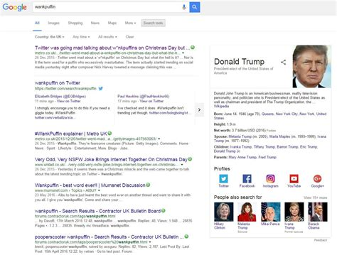google donald trump biography first google result for wankpuffin is donald trump s bio