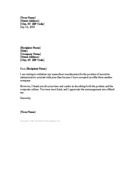 Dealership Withdrawal Letter Format Letter Withdrawing Application After Accepting Another Offer For Microsoft Sle Access