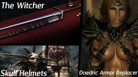 skyrim hot armor replacer skyrim mods skull helmets witchers silver sword female