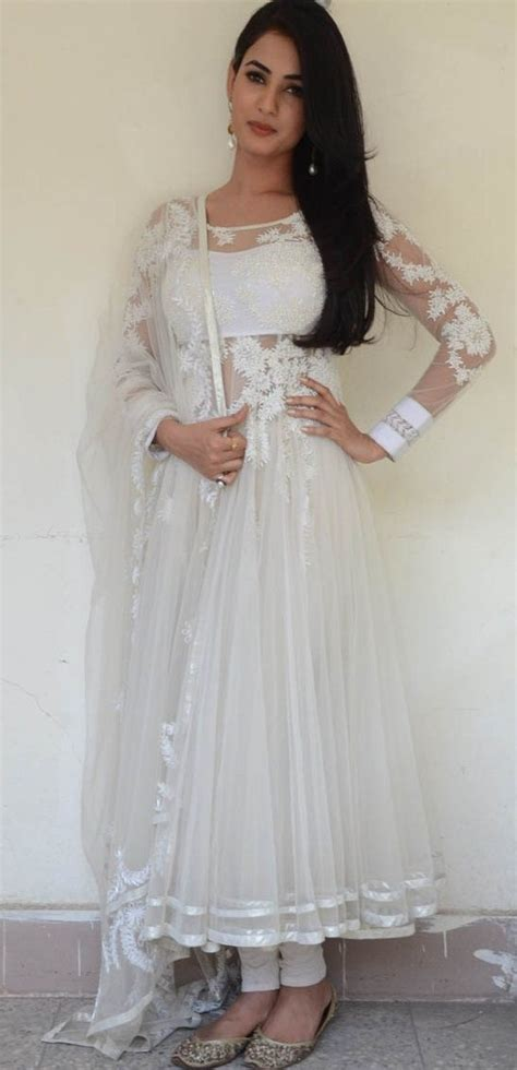 dress design in white colour actress sonal chauhan hot photos suitanarkali in