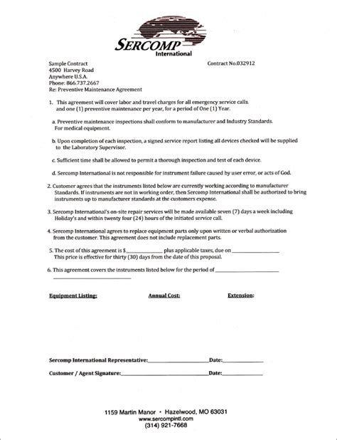 Lab Repair Lab Maintenance Agreements Preventative Maintenance Contract Templates