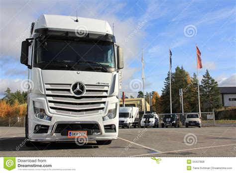 mercedes truck white white mercedes benz actros truck editorial stock photo