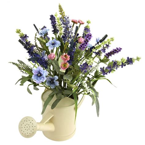 Silk Flower Arrangements by Lavender Silk Flower Arrangement With Watering Can