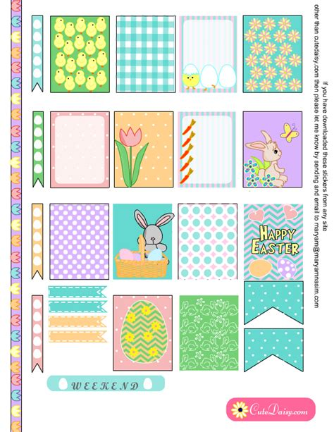 erin condren life planner free printable stickers free printable easter stickers for happy planner and eclp