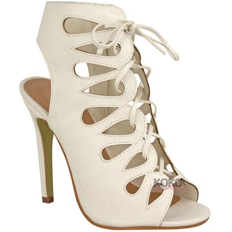 high heel gladiator shoes new womens cut out high heel gladiator sandals lace