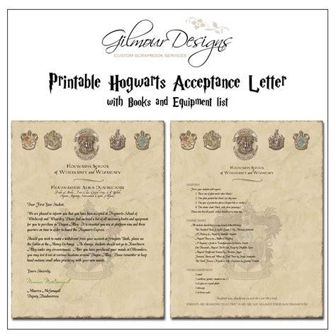 Letter List the gallery for gt hogwarts acceptance letter supply list