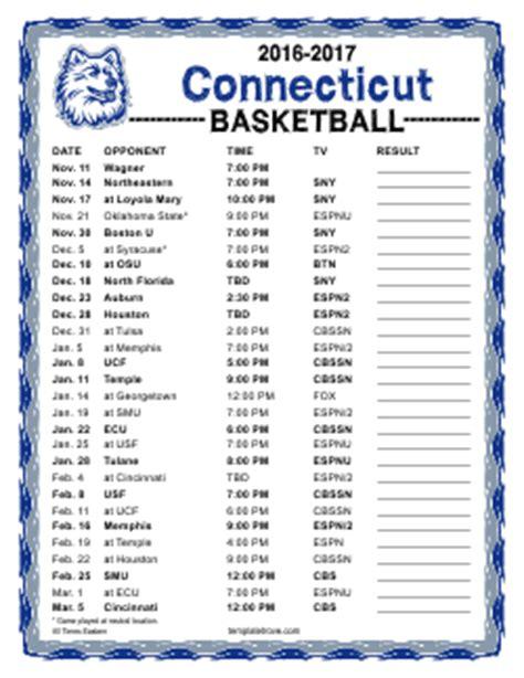 printable   uconn huskies basketball schedule