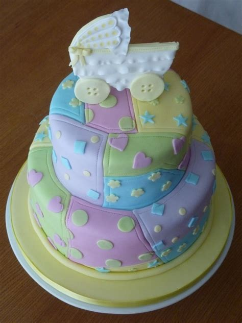 Patchwork Cake - baby shower patchwork quilt cake yes i m going to start