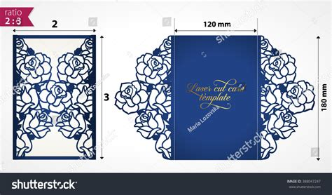 Floral Paper Cut Out Card Template by Laser Cut Wedding Invitation Template With Roses Vector
