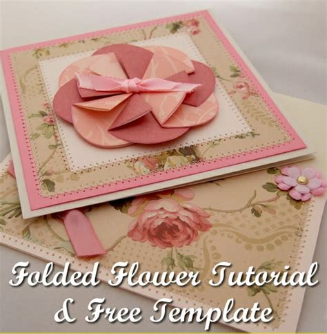 folded flower card template folded flower card with free template