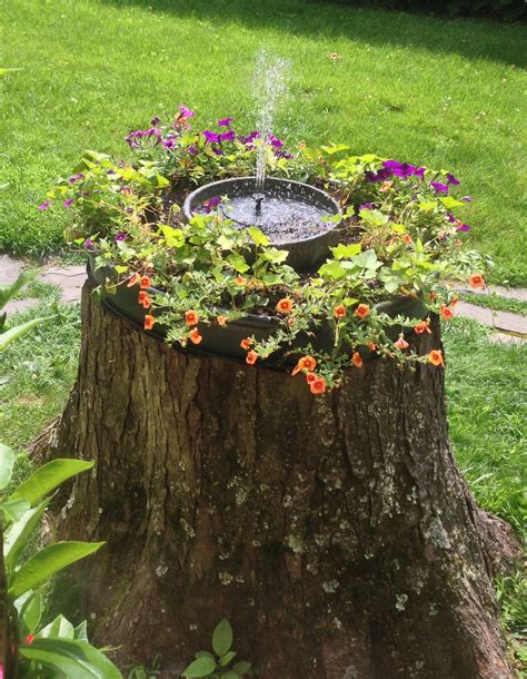 what to do with plant stump as christmas decoration outdoors stump garden w solar idea for neighbors who cut tree beautiful home
