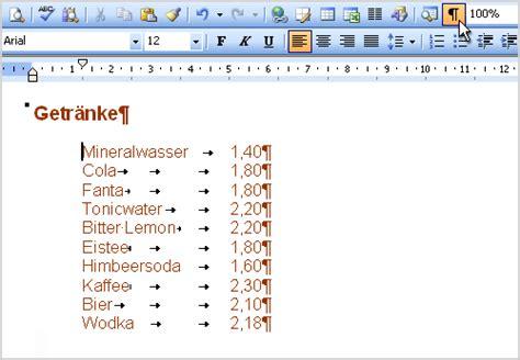 Word Vorlage Preisliste Klickdichschlau At Word Writer Tabstopps