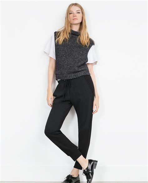 zara trousers in black lyst