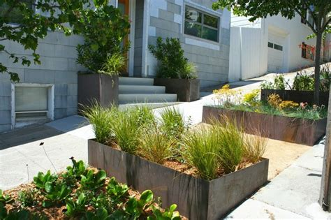 Planter Box In Front Of House by Cor Ten Planter Boxes Landscape San