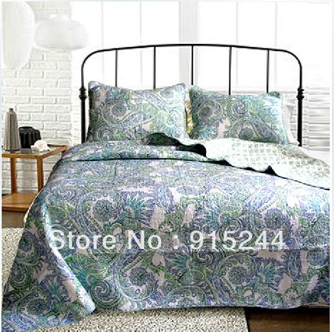 Promo Bedcover Set Krishome King 210x210 Cm green embroidery bedspread discount cotton quilting qults 3pcs set king size 230 270cm bed cover