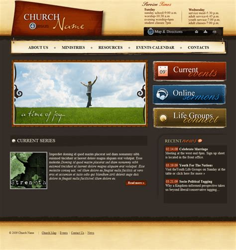 Church Web Templates by Church Website Template 128 Church Template Complete