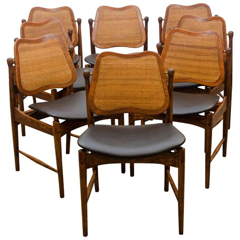 swivel dining room chairs set of eight swivel back dining chairs arne vodder at 1stdibs