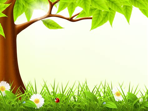 cute forest spring ppt backgrounds design green nature