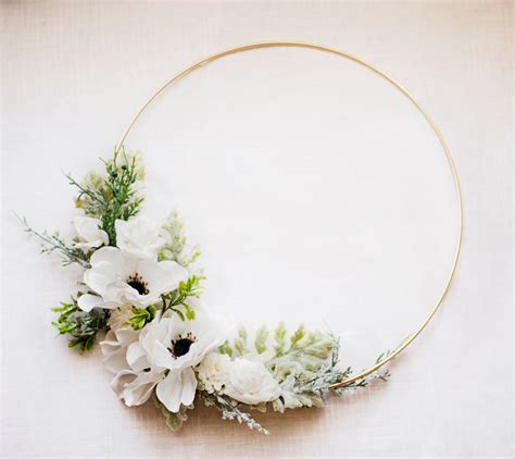 Winter Floral Wreath flowers & greenery on gold hoop