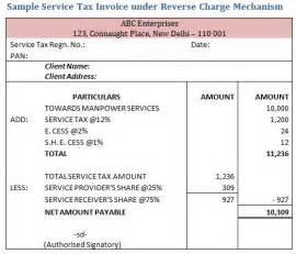 sample service tax invoice under reverse charge mechanism