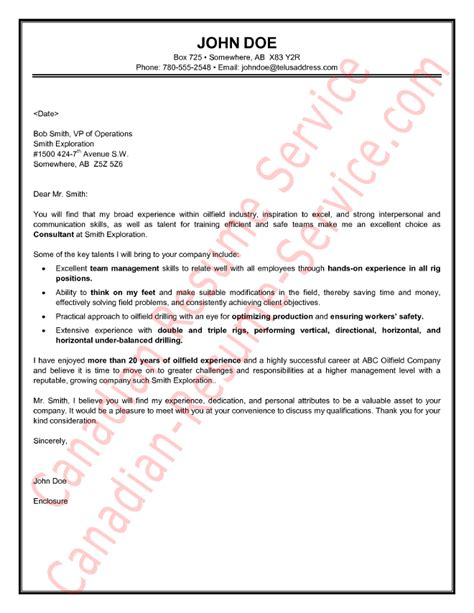 oilfield consultant cover letter sample example