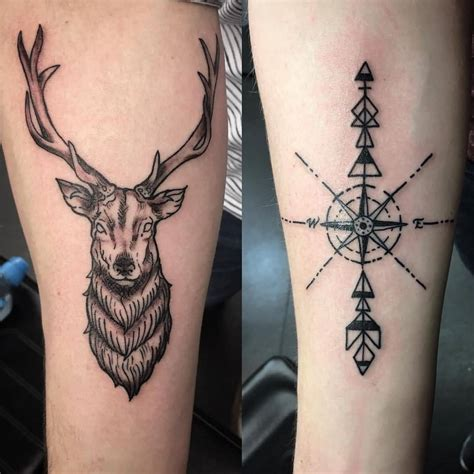 compass arrow tattoo stag outline www pixshark images galleries