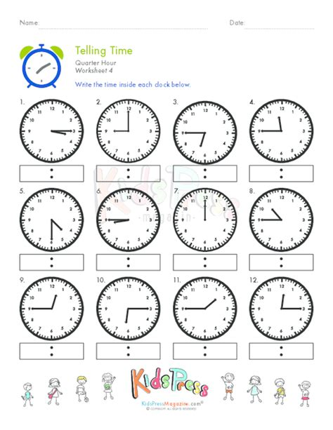 free printable time math sheets telling time quarter hour worksheet 4 kidspressmagazine com