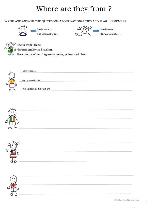 where are you from worksheet free esl printable
