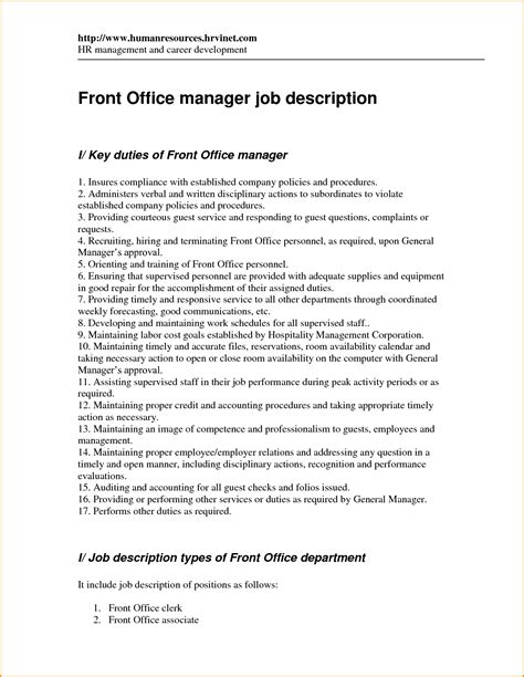 Duties Of A Front Desk Officer 12 Front Desk Manager Description Invoice Template