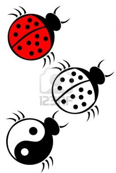 tribal ladybug tattoos a tribal ladybug set stock photo