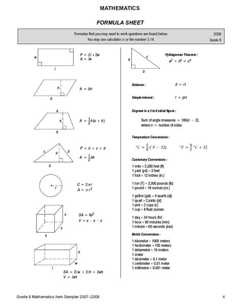8th grade staar math workbook 2018 the most comprehensive review for the math section of the staar test books math formula sheet reference gallery