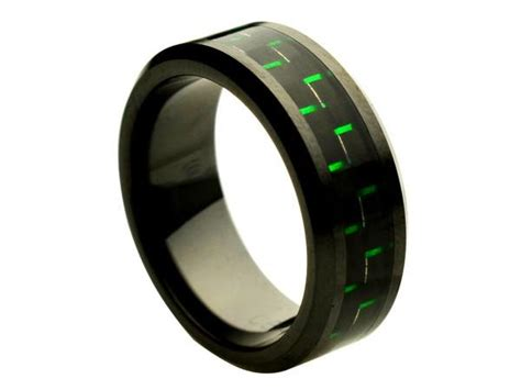 ceramic ring with green black carbon fiber inlay 8mm