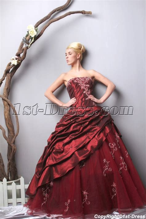 Unique Strapless Long Burgundy Quinceanera Dresses 2013 Spring SOV113005:1st dress.com