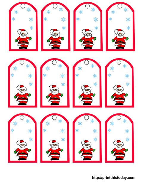 Printable Gift Tags From Father Christmas | printable santa claus christmas gift tags