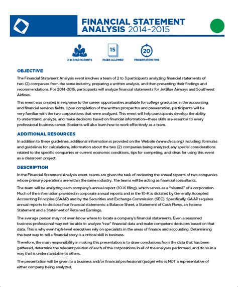 financial analysis template sle financial statement 5 documents in word excel pdf