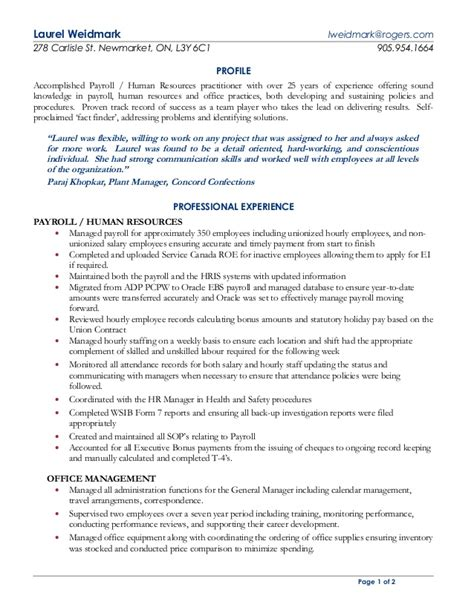 Payroll Resume by Laurel Weidmark Payroll Hr Practioner Resume
