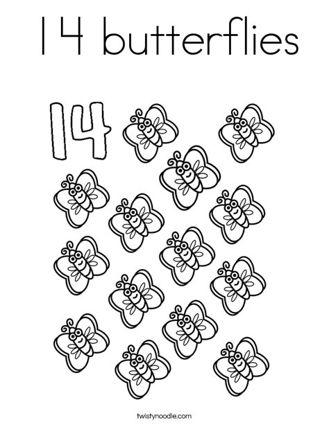 coloring pages for the number 13 14 butterflies coloring page twisty noodle