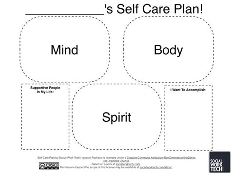 self care plan template self care plan template counseling social work