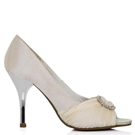 buy prim metallic heel diamante prom court shoes white